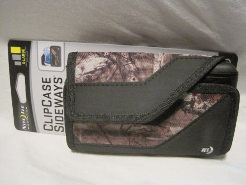 Nite Ize Black/Camouflage Mossy Oak Sideways Horizontal Rugged Heavy Duty X-large Holster Pouch W/Durable Fixed Belt Clip Fits Casio Gz'One Commando C711 Cellphone