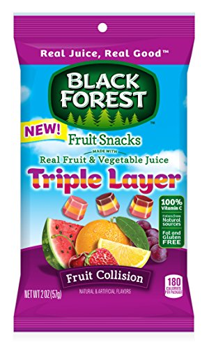 Black Forest Triple Layer Collision Flavored Snacks, Mixed Fruit Flavor, 48 Count (Pack of 48) by Black Forest