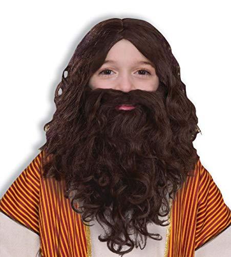 Child Biblical Times Long Brown Wavy Costume Wig Beard Moustache Jesus Set -