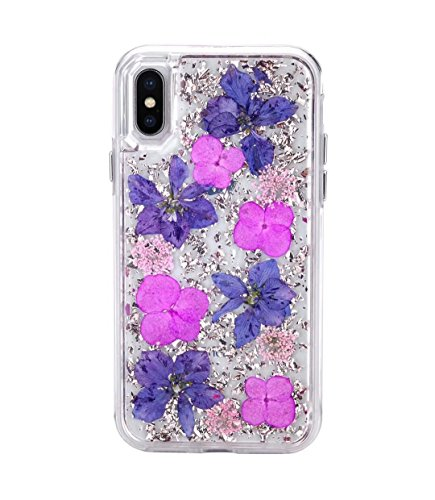 iPhone X Case,Bpowe Made with Real Flowers Luxury Glitter Case with Durable Shockproof 2-Layers Solid PC Cover Case + Flexible TPU Frame for Apple iPhone X 5.8inch (Purple Petals)