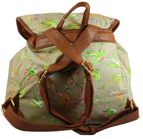 Rucksack BEIGE Leila in School Bag Backpack Rucksack Bag Womens Bird Print ASqUHTw