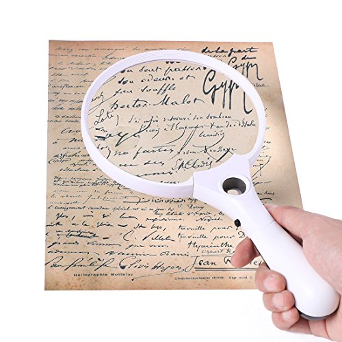 Handheld Full Page Magnifier with Light and 5.5 inch Extra Large 2X 4X Reading Magnifying Loupe Glass – (Collectible Handheld Magnifier)