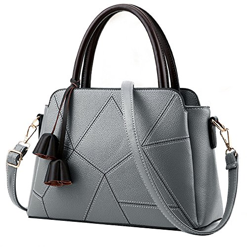 BAILIANG Womens PU Sac à Bandoulière Sac à Main Tassel Crossbody Mode Gray