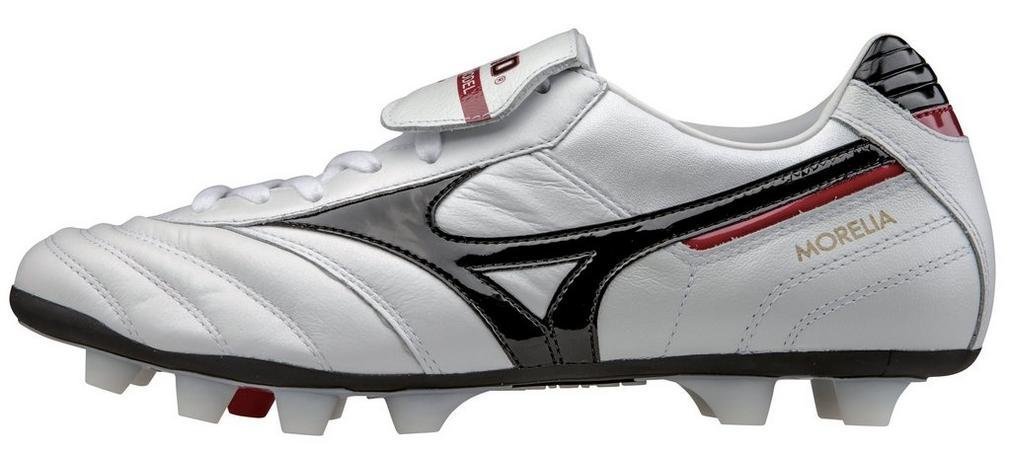 Mizuno Morelia Moulded Firm Ground Football (Pearl-schwarz-ROT)
