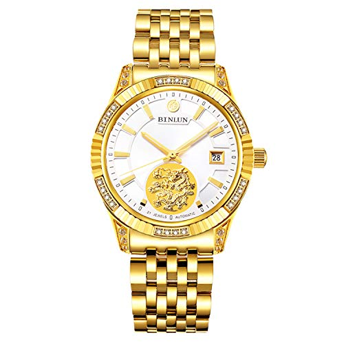 BINLUN Men's 18K Gold-Plated Automatic Watches Luminous Waterproof Date Watches for Men Diamonds ()
