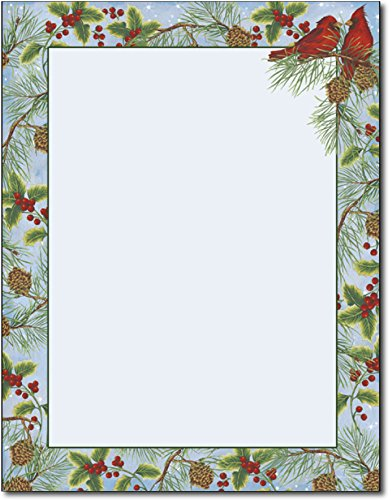 Cardinal with Pine Holiday Bird Stationery - 80 Sheets - For Christmas Letters, Flyers, Invitations, or Greetings