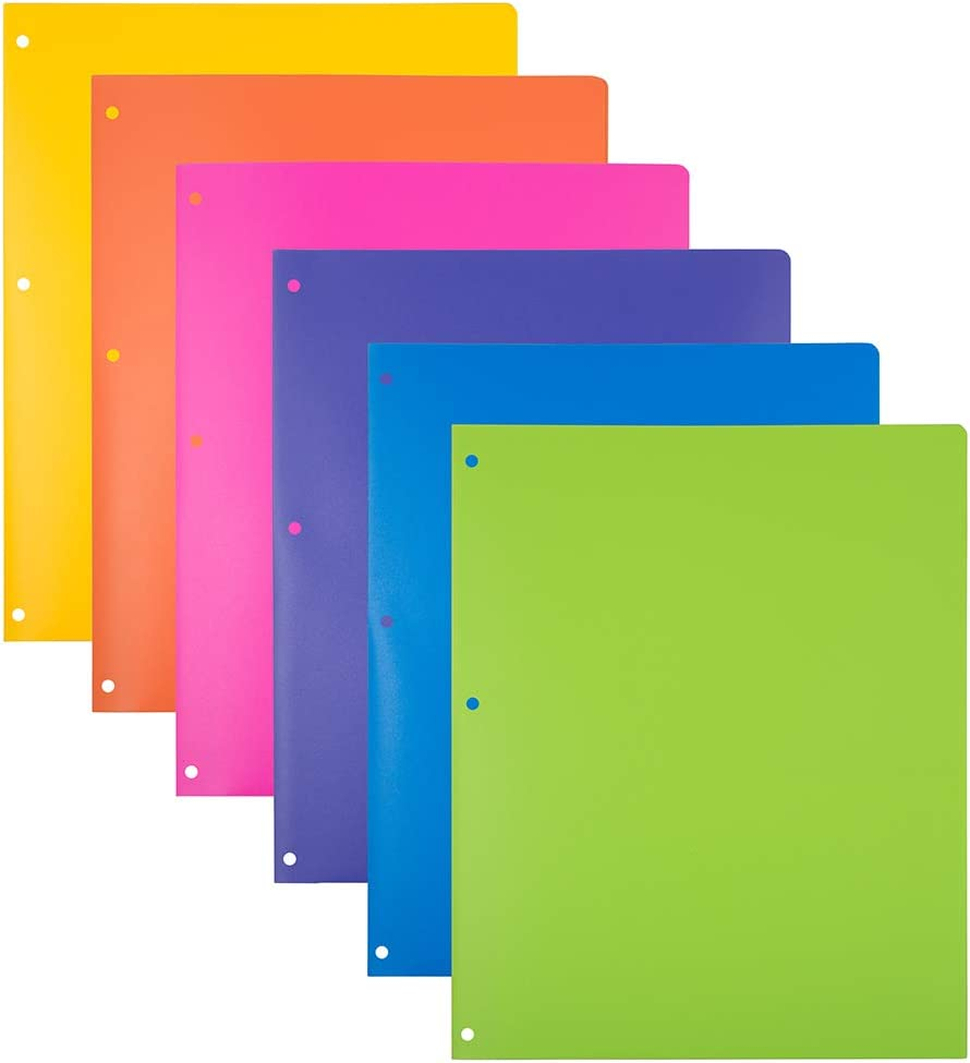JAM PAPER Heavy Duty Plastic 3 Hole Punch School Folders with Pockets - Assorted Fashion Colors - 6/Pack