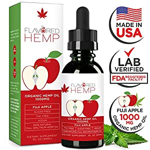 Hemp Oil - Zero THC CBD Oil Cannabidiol - 1000 MG - Fuji Apple - 100% Organic Hemp Extract Drops - Natural Pain Stress Anxiety Relief & Improves Overall Health - Grown & Made in The USA by Naturefine