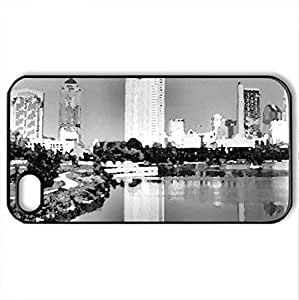 Columbus,Ohio B&W - Case Cover for iPhone 4 and 4s (Skyscrapers Series, Watercolor style, Black)