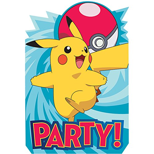 Pokemon Birthday Party Supplies 16 Pack Invitations