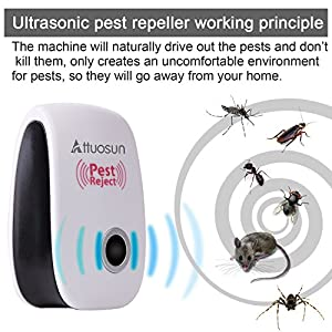 Ultrasonic Pest Repeller , ATTUOSUN 6 Pack Electronic Pest Repeller Plug In for Mice, Mosquitoes , Ants, Roaches, Spiders, Bugs, Flies, Insects And More,Pest Control Non-toxic,Human & Pet Safe