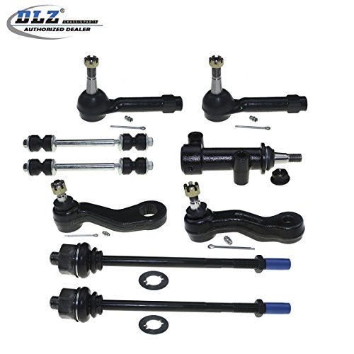 Cadillac Escalade Idler Arm - DLZ 8 Pcs Front Suspension Kit-Inner Outer Tie Rod End Sway Bar Idler Arm Bracket Assembly Pitman Arm Grooves Compatible with Chevrolet Silverado GMC Sierra 1500 2500 Yukon Tahoe, Cadillac Escalade