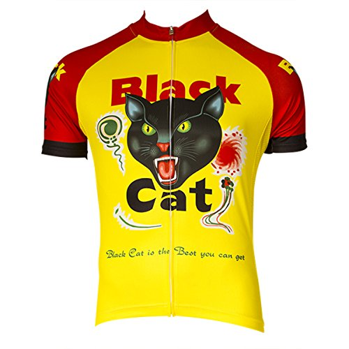 Retro Image Men's Black Cat Short Sleeve Cycling Jersey (Black Cat - L) (Spf Cycling Jersey)