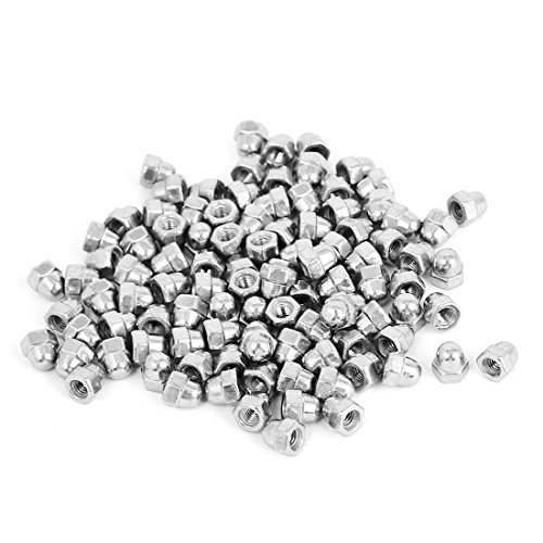 Stainless Steel Dome Cap (M3 304 Stainless Steel Dome Head Cap Acorn Hex Nuts Silver Tone 100pcs)