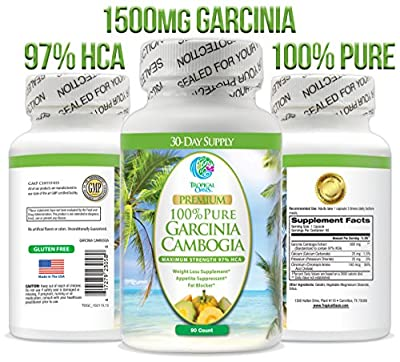 97% HCA Garcinia Cambogia - Maximum Strength 500mg of 100% Pure Garcinia Cambogia Extract - Natural Weight Loss Supplement, Appetite Suppressant, & Fat Blocker* - 90ct