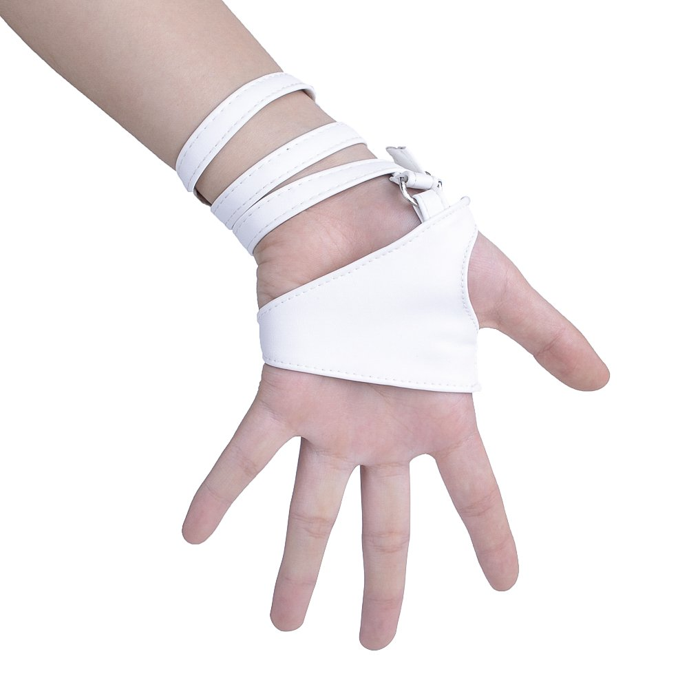 JISEN Women Half Palm Fingerless PU Leather Night Bar Band Up Punk Gloves Black
