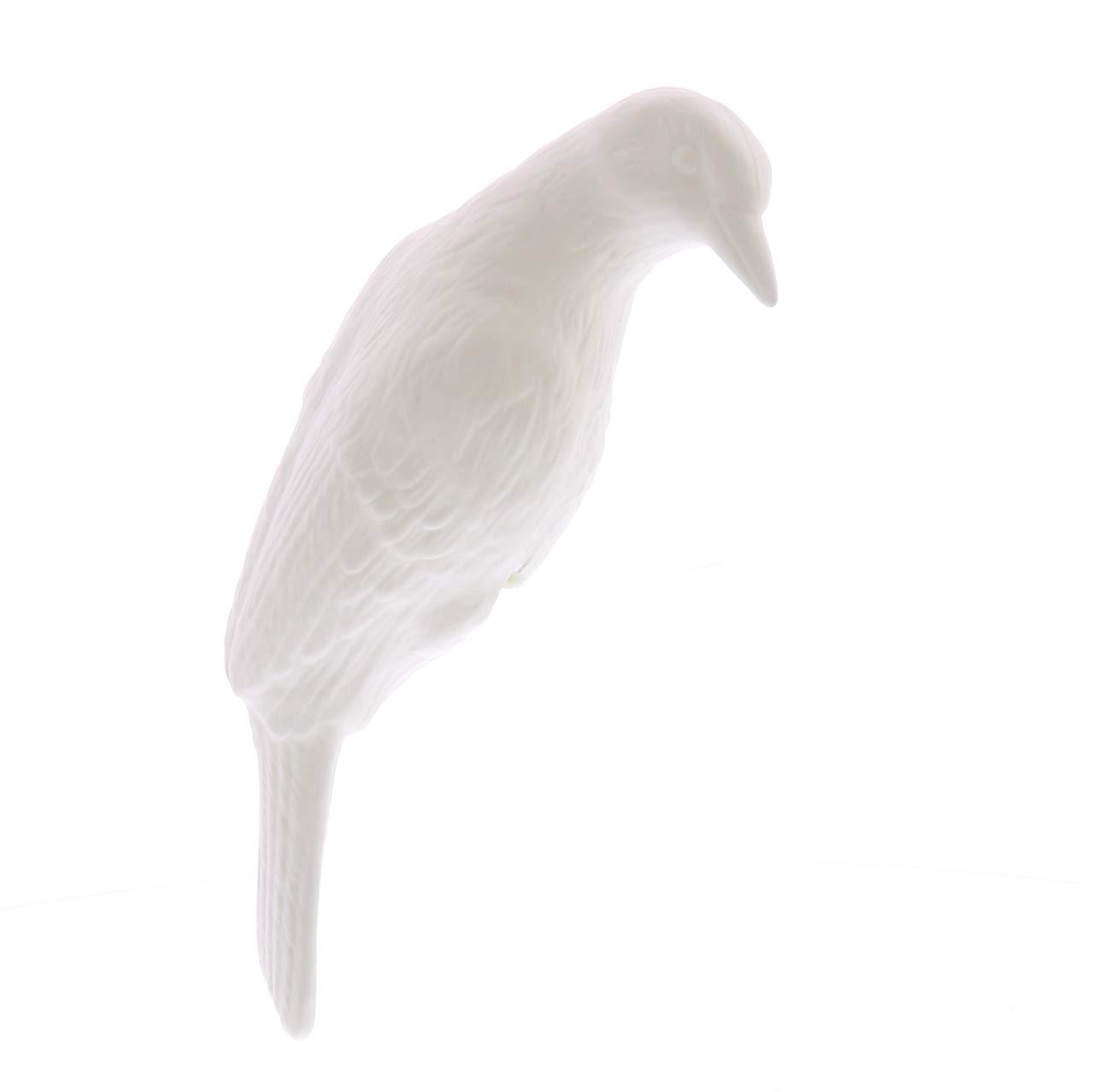 My Swanky Home Elegant White China Bird Figurine Vase Edge Sitter Perching Decorative