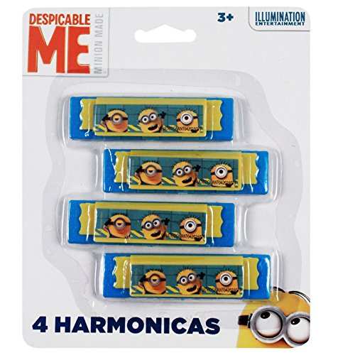Minions Despicable Me Licensed Mini Harmonica Kids Music Instrument Toy 4pk (Minions Party Ideas)
