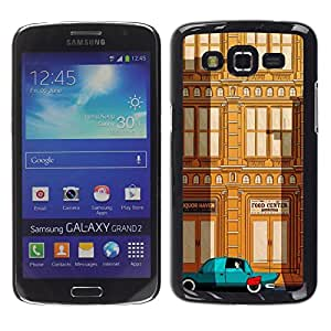 LECELL--Funda protectora / Cubierta / Piel For Samsung Galaxy Grand 2 SM-G7102 SM-G7105 -- Deco Car Brown Teal City Building --