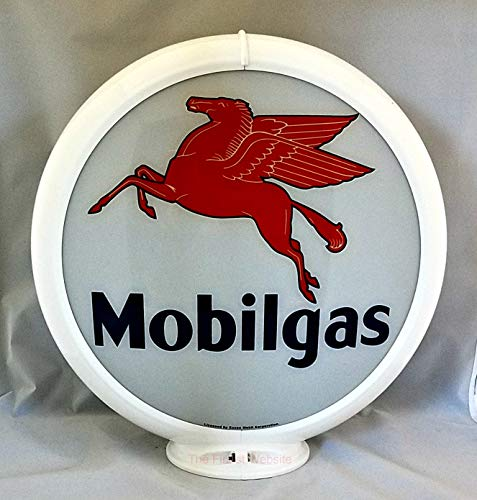 The Finest Website Inc. Reproduction Mobilgas Gas Pump Advertising Globe Already Assembled - White Frame - Ships Free Next Business Day to Lower 48 States