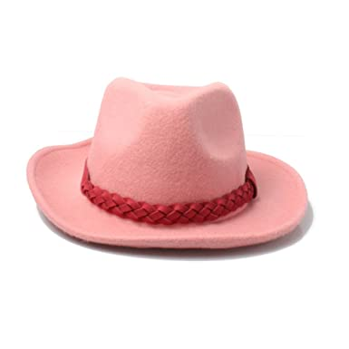 Image Unavailable. Image not available for. Colour  Accessoryo Women s  Pastel Pink Wool Fedora Hat with Woven Faux Leather Band 3f9a6adb1193