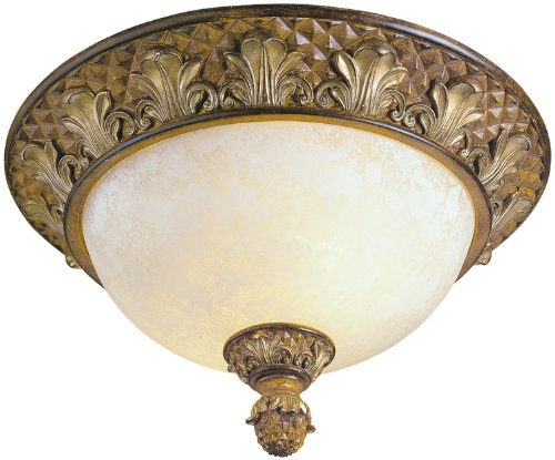 Livex Lighting 8457-57 Savannah 2 Light Venetian Patina Flush Mount with Vintage carved Scavo Glass
