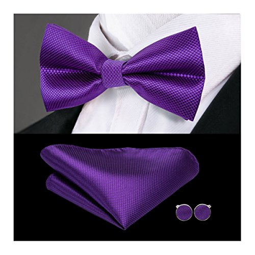 - Hi-Tie Purple Bowtie Pocket Square Cufflinks Mens Bow Tie Set Silk Wedding Bowtie