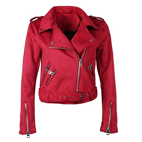 Highplus Jacket Coat Solid Color Winter Women Turn Down Collar Zipper Suede Short Jacket Coat Red