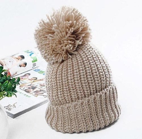 Sannysis 1PC Fashion Beauty Korean Women Winter Knit Caps Warm Oversized Cuffed Beanie Crochet Ski Hats (Beige)