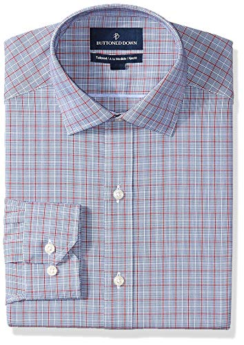 BUTTONED DOWN Men's Tailored Fit Spread-Collar Pattern Non-Iron Dress Shirt, Blue/Red Windowpane Plaid, 17.5