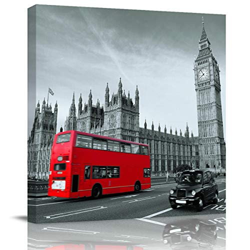 Modern Canvas Wall Art Square Artwork Wall Decor,The Building Landscape of London Art Paintings for Bedroom Living Room Home Office Hotel,Stretched by Wooden Frame,Ready to Hang,28 x 28 Inch]()