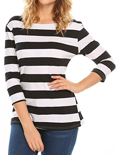 White Striped Shirt Top (Halife Women's 3/4 Sleeve Crewneck Striped T-shirt Casual Basic Shirt Tops (M, Black & White))