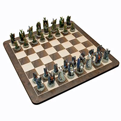 Wood Expressions WE Games Dragon Chess Set - Handpainted Pieces & Walnut Root Board 21 in.