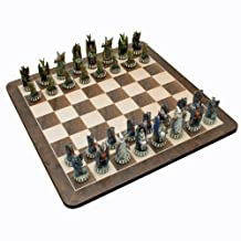 WE Games Dragon Chess Set - Handpainted Pieces & Walnut Root Board 21 in.
