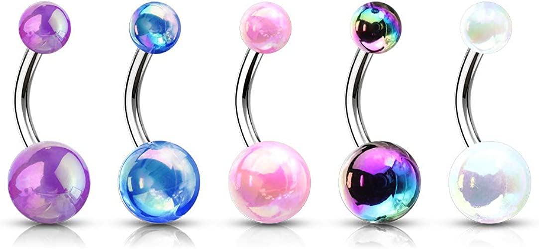 316L Surgical Steel Belly Button Ring with White Metallic AB Coating Balls