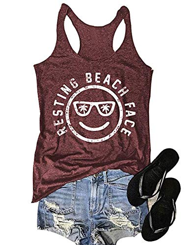 (MK Shop Limited Women's Resting Beach Face Sleeveless Funny Workout Tank Top T-Shirt (Burgundy, L))