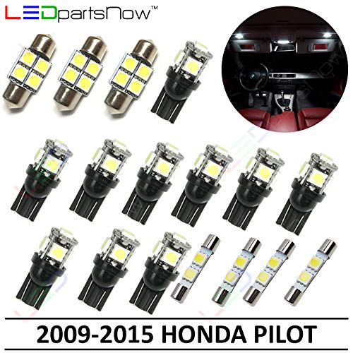 LEDpartsNow Interior LED Lights Replacement for 2009-2015 Honda Pilot Accessories Package Kit (17 Bulbs), WHITE