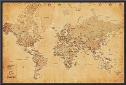 Amazon Com World Map Vintage Style 36x24 Wood Framed Poster Art