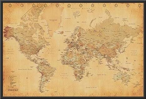 Amazon Com World Map Vintage Style 36x24 Wood Framed Poster Art Print Poster Frame Sets Posters Prints