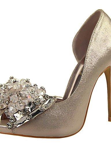 GGX/Damen Heels/Plattform/spitz zulaufender Zehenbereich Leder Party & Abend/Kleid/Casual Stiletto-Absatz Schleife/slip-onblack golden-us5 / eu35 / uk3 / cn34