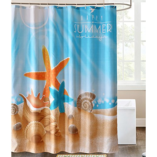 LanMeng Sea Life Fabric Shower Curtain, Sandbeach Starfish Shell Conch Sea Snail Star, Blue Orange (72-by-72 inches, 1) (Sea Breeze Shower Curtain compare prices)