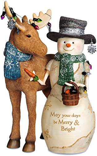 Pavilion- May Your Days be Merry & Bright Snowman and Moose Figurine Christmas Decor -