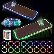 Cornhole Lights, RGB 16 Colors Change LED Cornhole Board Lights Strips for Edge and Hole with Remote Control f
