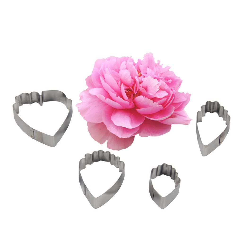 FOUR-C Fondant Decorations Peony Stainless Steel Sugarpaste Cutters Cake Petal for Cupcake Topper Color Silver MJML 917660