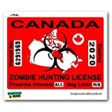 Canada Canadian Zombie Hunting License Permit Red - Biohazard Response Team - Window Bumper Locker Sticker