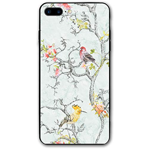 iPhone 7 Plus Case/iPhone 8 Plus Case Bird Painting Soft Rubber Cover Lightweight Slim Printed Protective Case