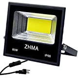 60W LED Flood Light Waterproof Outdoor Lighting, ZHMA Super Bright White Lights with Plug & Switch, Security Landscape Lamp Fixture for Garage, Garden, Yard. 5400lm, 6500K White Light