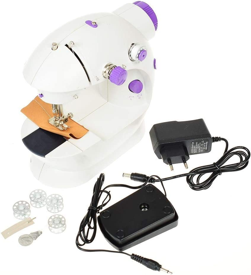 NUANNUAN 2-Speed Mini Electric Desktop Sewing Crafting Machine for Beginners Travel Household