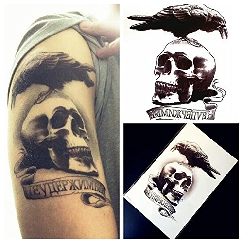 Crow on skull fake tattoo Temporary tattoos body art metallic flash tattoo body stickers 3d body glam size large - The Crow Costume Tips