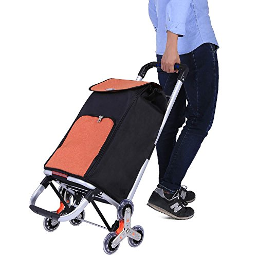dtemple Foldable Shopping Cart,Stainless Steel Car Body Large Capacity Oxford Cloth Bag Portable Shopping Cart by dtemple (Image #2)